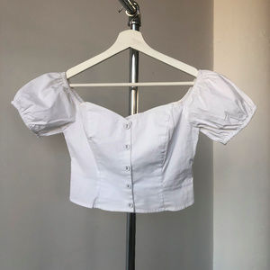 Puffy Sleeves Bustier off shoulder Crop Top White